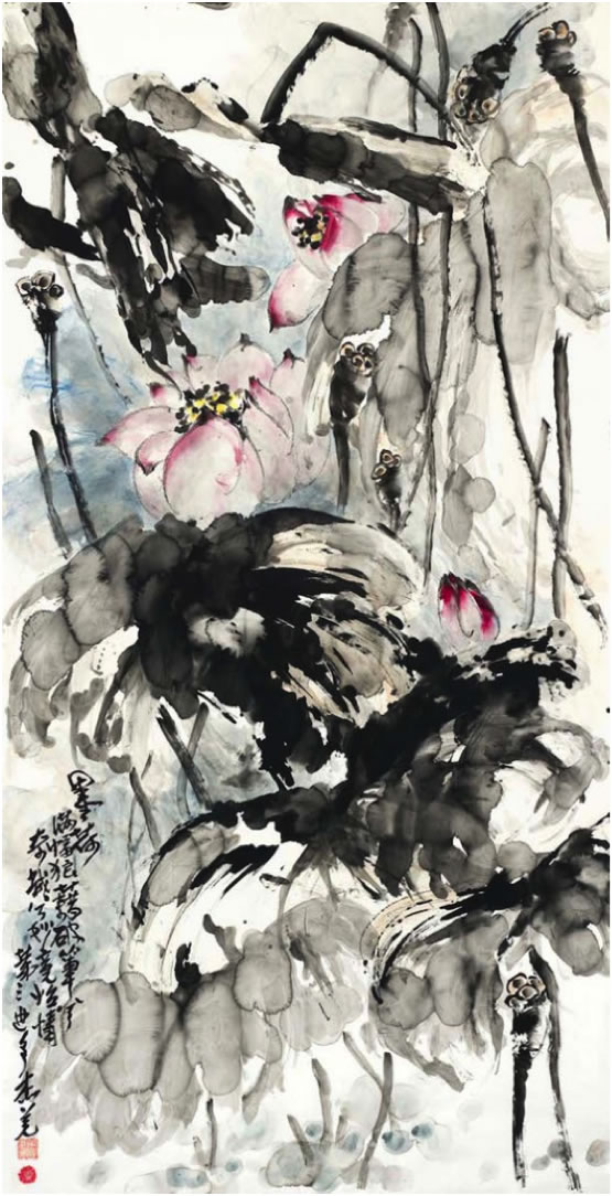 Painting titled Ink Lotus by H.H. Dorje Chang Buddha III